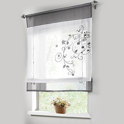 1pcs Sheer Liftable Organza Embroidered Kitchen Curtains Roman Window  Shades,Grey,31×39u201d