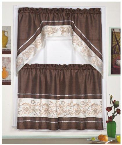 Coffee Espresso Latte Cafe Ivory Brown Kitchen Curtains: Kitchen Curtain Ideas