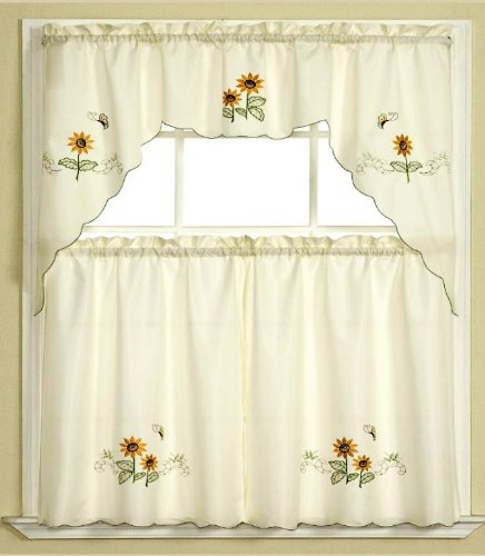 3pc Beige with Yellow Sunflower and Butterfly Kitchen/Cafe Curtain ...