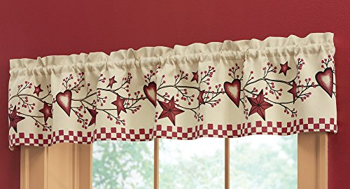 Country Heart Checkered Window Valance By Kitchen Curtains