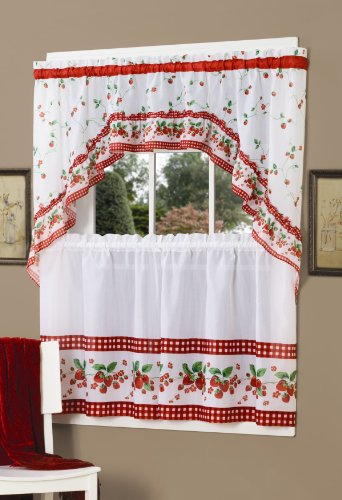 Curtains Ideas 36 inch cafe curtains : Achim Home Furnishings Strawberry Tier and Swag Set, 57-Inch by 36 ...