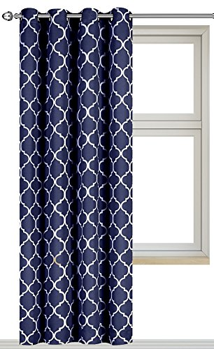 printed blackout room darkening printed curtains window panel drapes navy color pattern 1. Black Bedroom Furniture Sets. Home Design Ideas