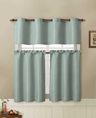 Jacquard Kitchen Window Curtain Set 2 Rod Pocket Tier Panel 1 Valance With