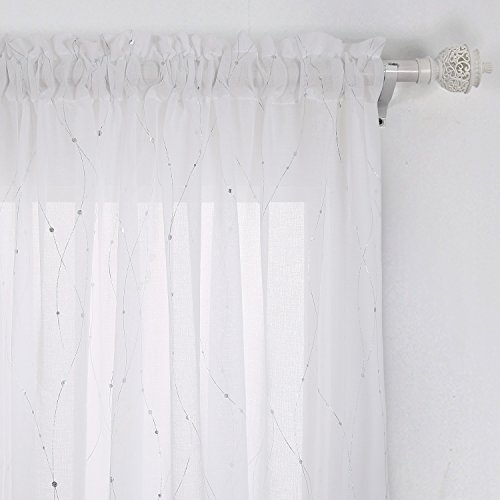 Deconovo Sheer Curtains Rod Pocket Wave Line With Dots Linen Look Transparent For Bedroom 52x63 Silver 1 Panel