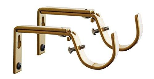meriville set of 2 gold curtain drapery rod bracket for 1 14inch rod adjustable