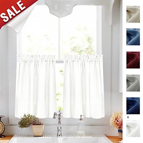 White Kitchen Curtains Amazon Com: 24 Inch White Kitchen Tiers Semi Sheer Café Curtains Rod