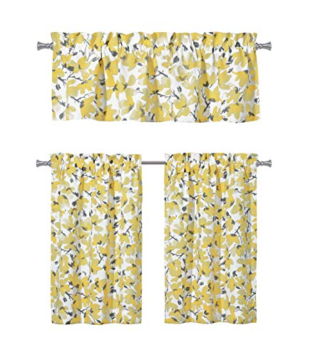 Kitchen Curtains Yellow And Gray: Floral Yellow Grey Kitchen Curtains: One (1) Valance And