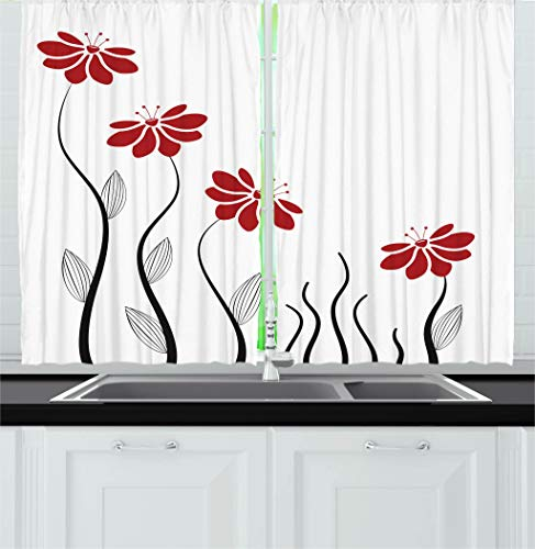 Ambesonne Flower Decor Kitchen Curtains, Floral Petals
