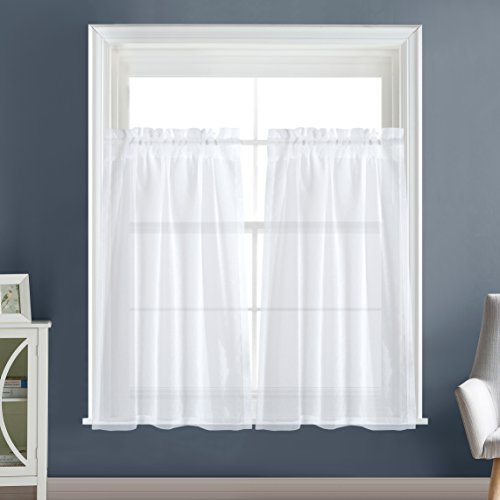 Amazon Kitchen Curtains Discount Store: Dreaming Casa Solid Sheer Kitchen Curtains Valance Tier