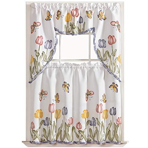 Ivory Yellow Beige Lynna Striped Faux Linen 3 Piece: Kitchen Curtain Ideas